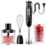 Coziselect 4 in 1 Frullatore a Immersione, 800W, Set di Accessori in 3 Parti, Adatto per Preparare Pappe, Insalate, Zuppe e Verdure, Nero