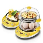 Cuociuova elettrico Uova elettrico della caldaia multifunzionale Egg vapore Frittata doppio strato Timing elettrica domestica Food Vapore colazione (Color : Yellow, Plug Type : UK)
